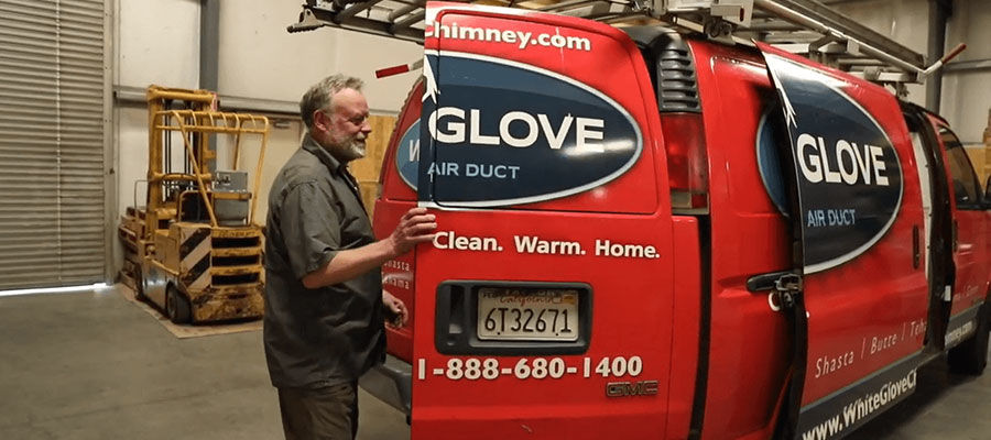 HVAC contractor with work van