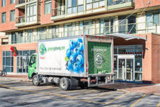 Refrigerated delivery truck in the city