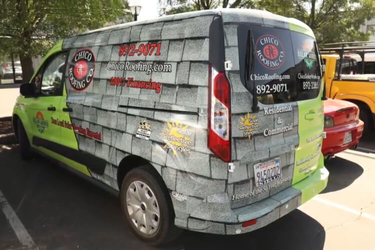 Van with an advertising wrap