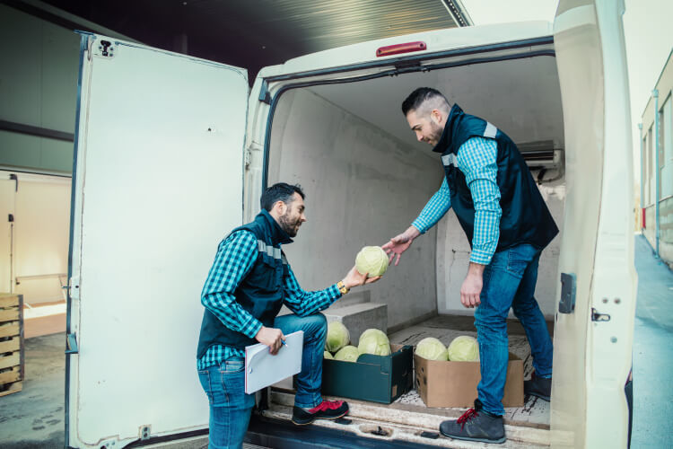 Unloading a refrigerated van